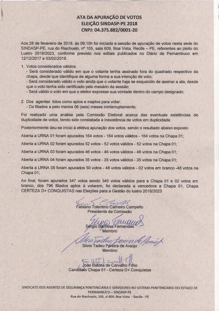 """Photo of A CHAPA 1 """"CERTEZA D+ CONQUISTAS"""" FOI ELEITA NAS ELEIÇÕES DO SINDASP-PE PARA GESTÃO 2018-2023. A ELEIÇÃO FOI DEMOCRÁTICA E CATEGORIA MOSTROU FORÇA"""