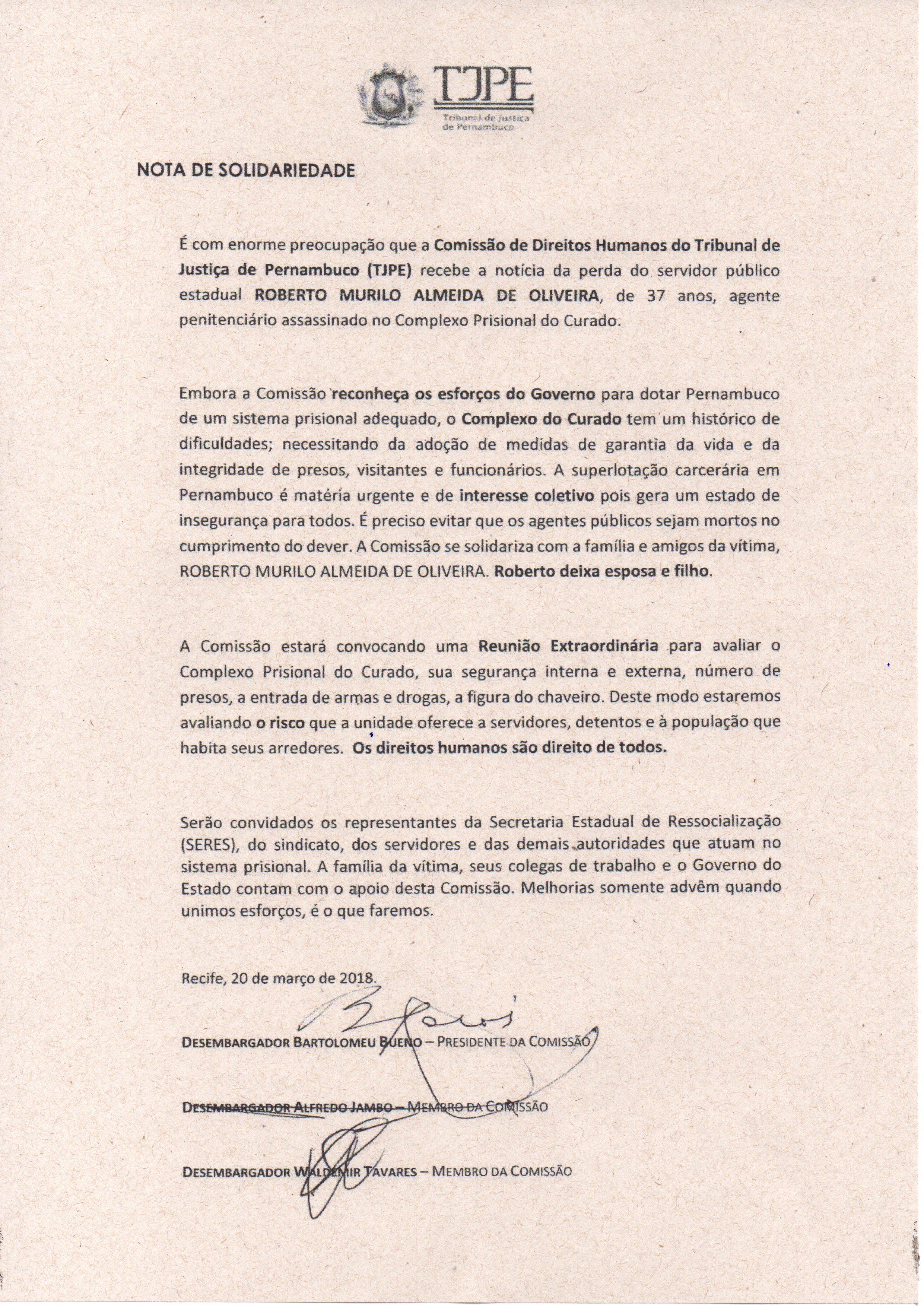Photo of NOTA DE SOLIDARIEDADE DA COMISSÃO DE DIREITOS HUMANOS DO TRIBUNAL DE JUSTIÇA DE PERNAMBUCO (TJPE)