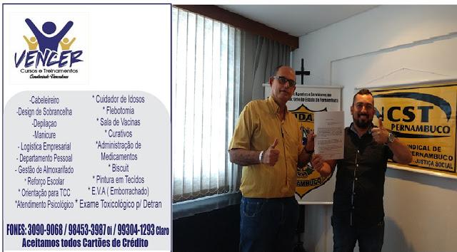Photo of SINDASP-PE FEZ CONVÊNIO E PARCERIA COM O VENCER CURSOS E TREINAMENTOS